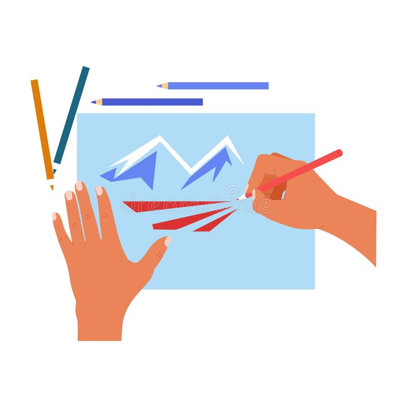 Hands drawing pencils and paper sheet mountains landscape vector illustration