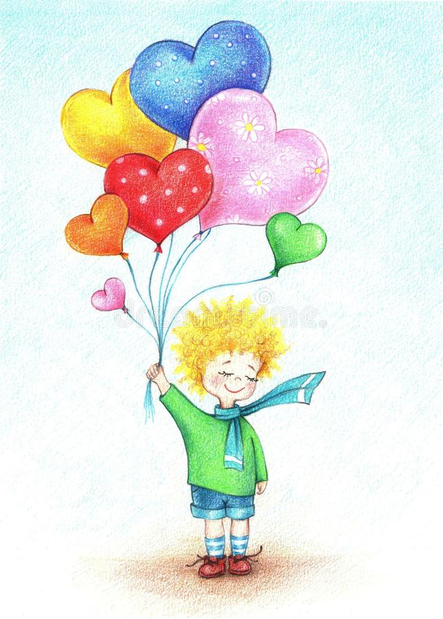 Hands drawn picture of boy with balloons by the color pencils. Hands drawn picture of little boy with colorful balloons by the color pencils royalty free illustration