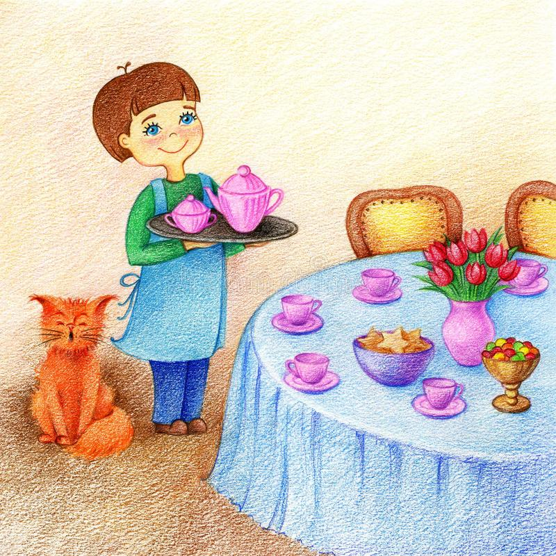 Hands drawn picture of little boy holds on dining room by the color pencils. Hands drawn picture of little boy holds a tray with tea standing near table and red royalty free illustration