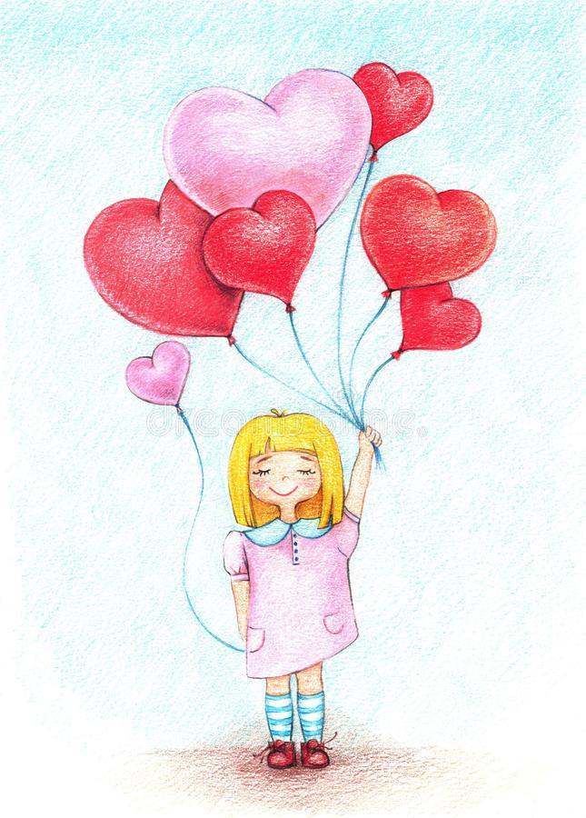 Hands drawn picture of girl with balloons by the color pencils. Hands drawn picture of little girl with balloons by the color pencils vector illustration