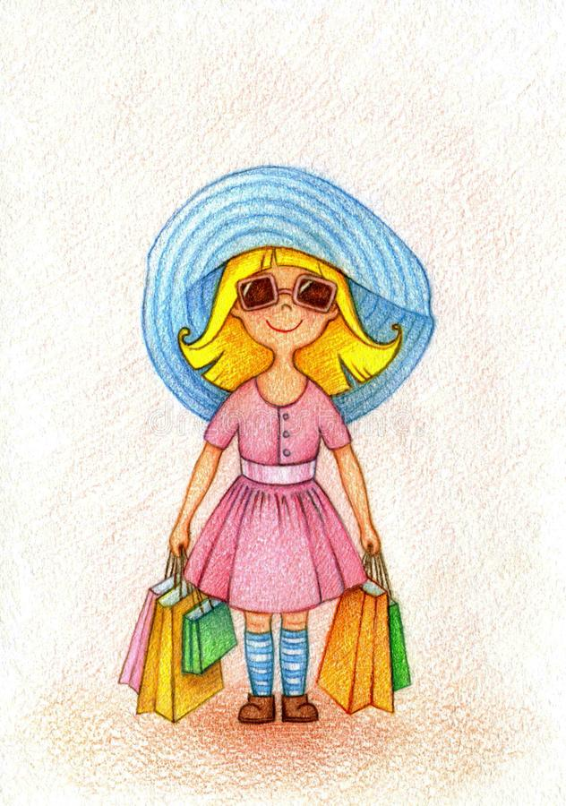 Hand drawn illustration of nice girl shopping. Hands drawn picture of nice girl in pink dress and blue hat shopping by the pencils vector illustration