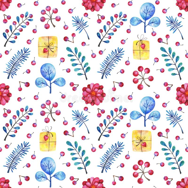 Hands drawn watercolor greeting seamless pattern with gifts and floral elements on white background stock illustration