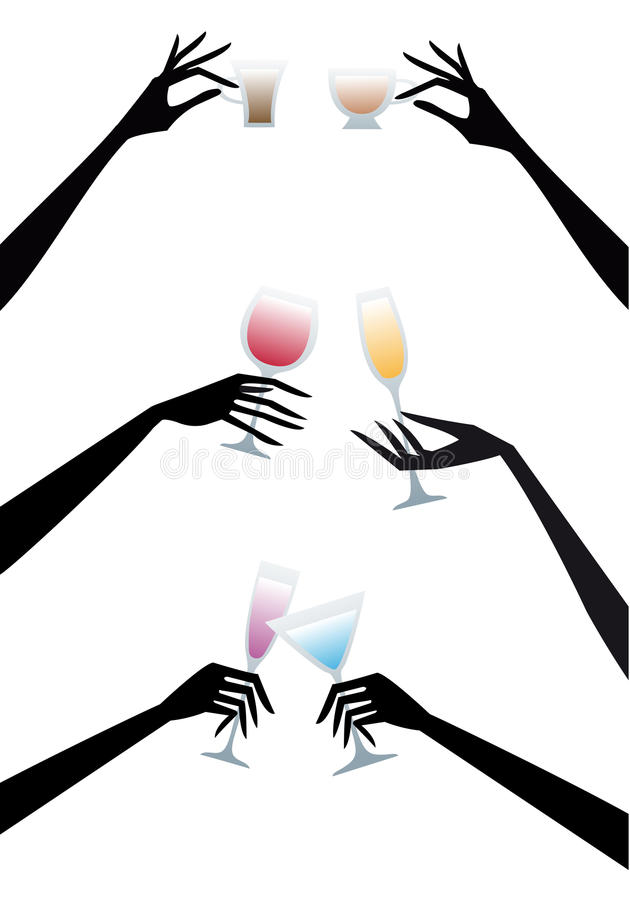 Download Hands with drinks, stock vector. Image of beverage, blue - 16255919