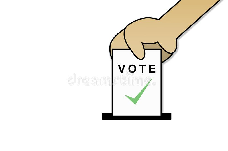 The hands is drop vote card and space for text on the left side. Drop the card on white background with paths layer for selection. vector illustration
