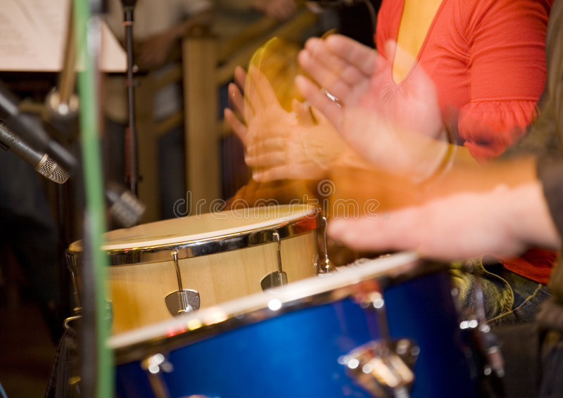 Hands and drums stock photos