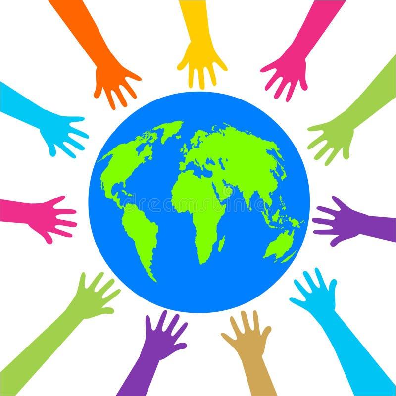 Hands and earh illustration.Save earth concept illustartion.Erath day logo icon. vector illustration