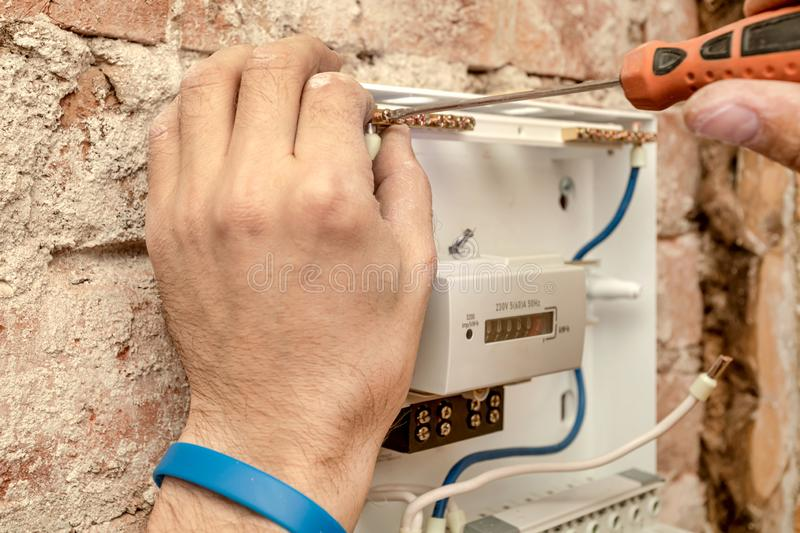 Close-Up Of Electrician Work royalty free stock photography