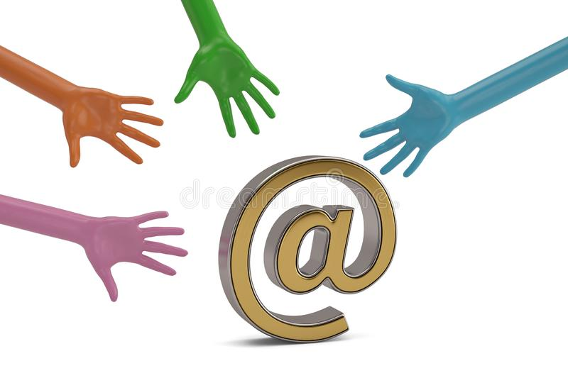 Hands and email symbol on white background. 3D illustration. royalty free illustration