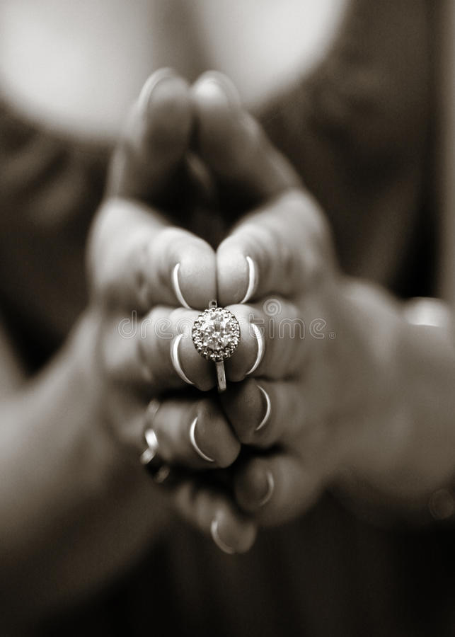Download Hands with engagement ring stock image. Image of single - 28068575