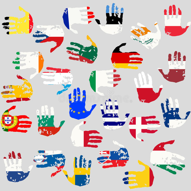 Download Hands With European Union Flags Stock Vector - Image: 20178385