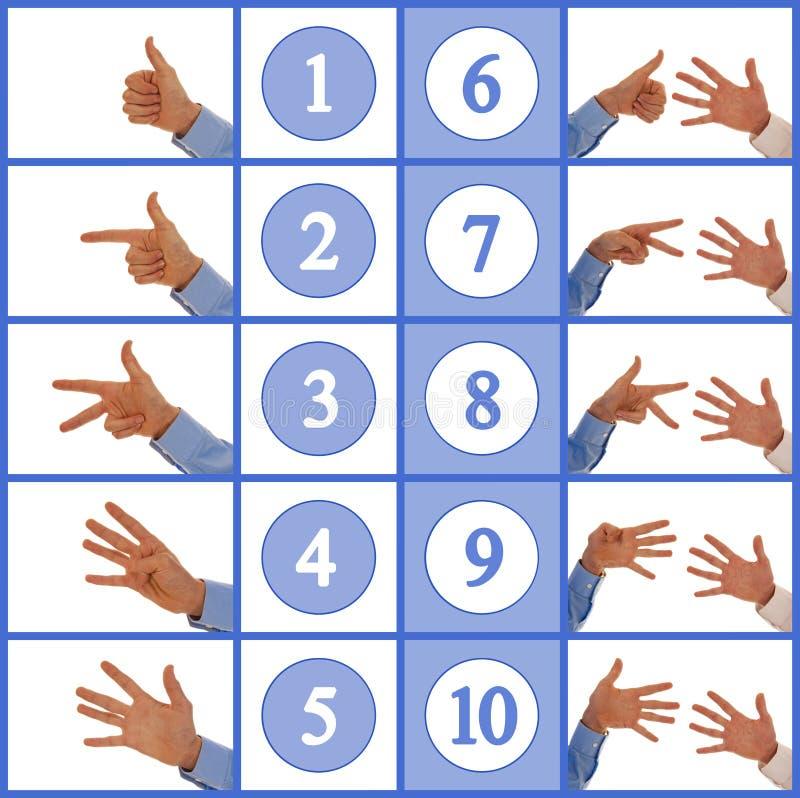 Hands figuring numbers one to ten