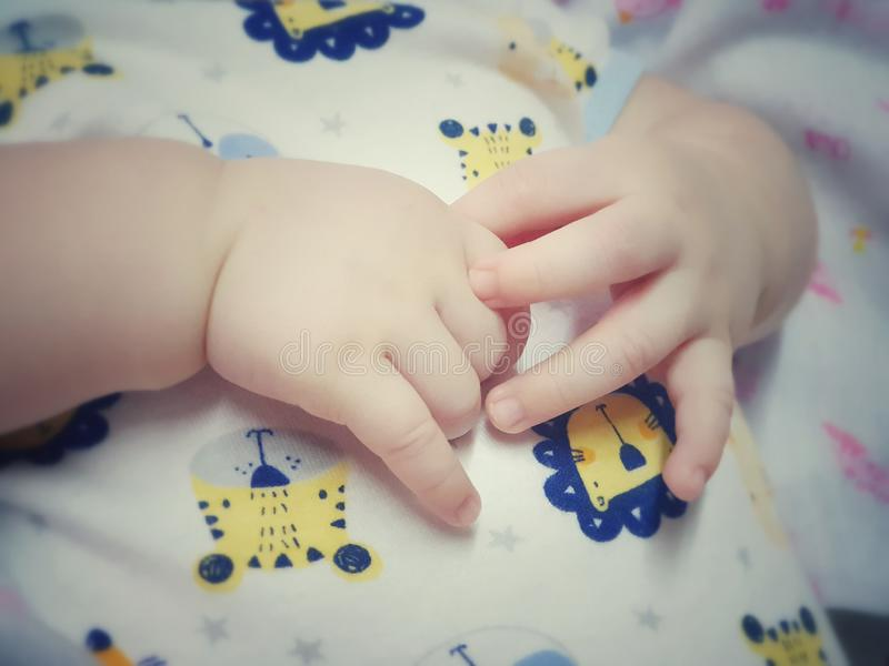 Ittle finger of newborn baby. Hands and fingers of babies.Little finger of newborn baby, babieslittle royalty free stock photo