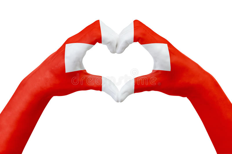 Hands flag of Switzerland, shape a heart. Concept of country symbol, isolated on white. Abstract 3d illustration graphic, design with pattern and texture royalty free stock image