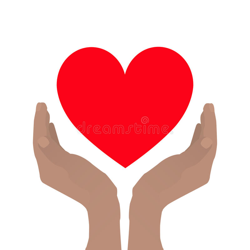 Hands folded with a boat to hold the heart. Posture of peace. Help, protection. On white background for your design vector illustration