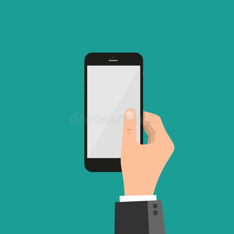 Hands folding smart phone and touching screen - vector template. Business concept royalty free illustration
