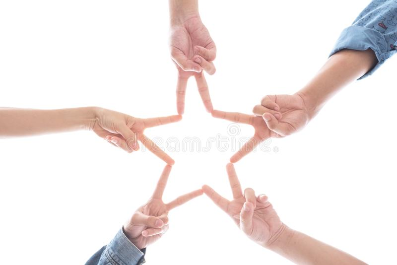 Hands in the form as star shape on isolated white background. Relation and United sign concept stock image