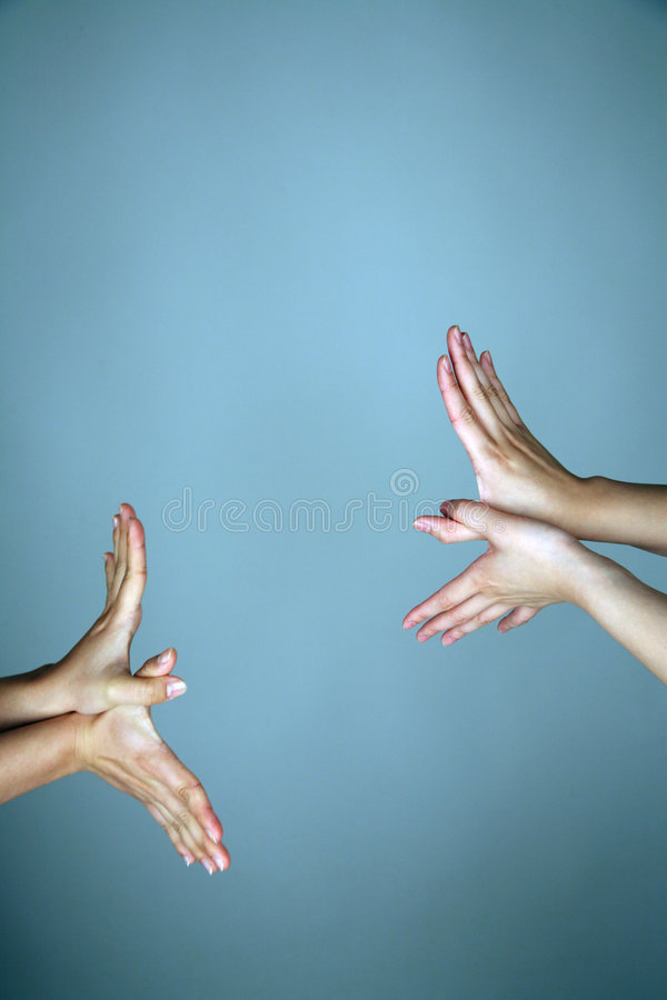 Hands forming bird wings royalty free stock photo
