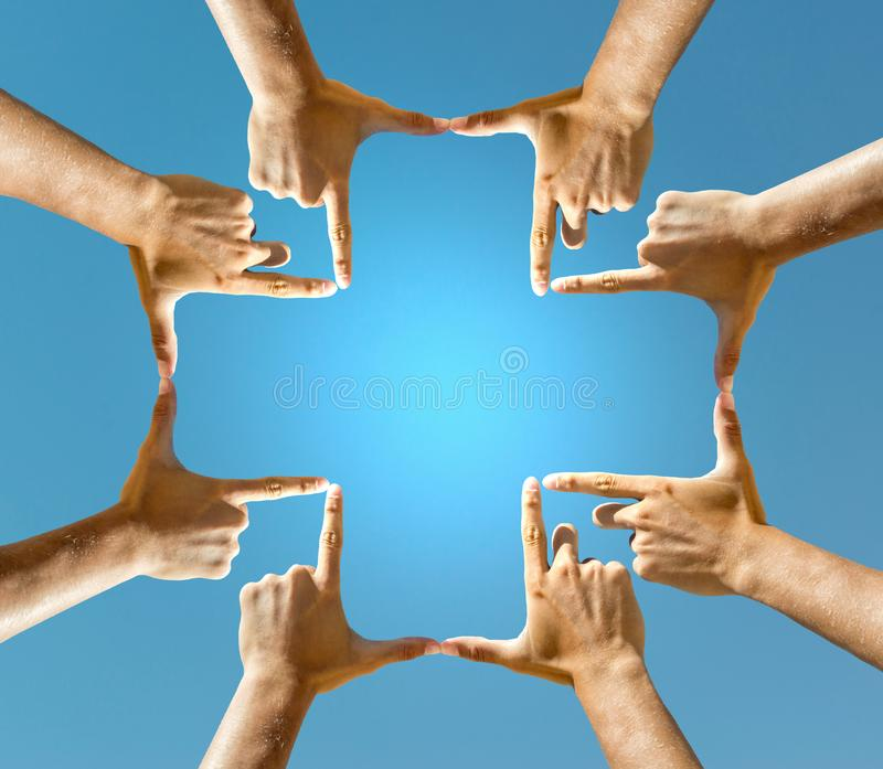 Hands making a Cross royalty free stock photo