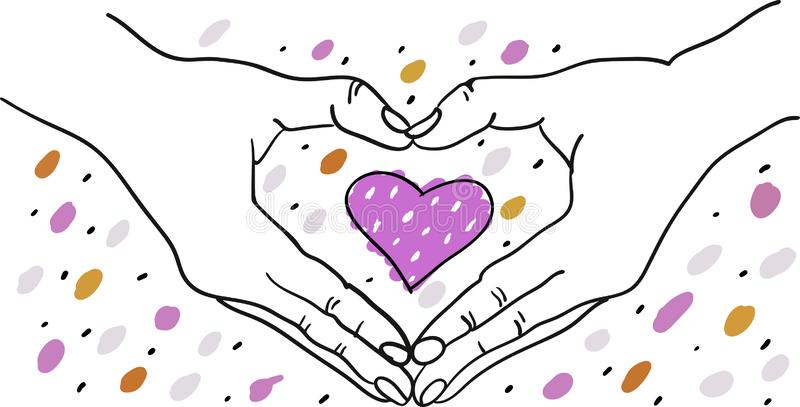 Hands forming heart shape around a colorful romantic heart - hand drawn  illustration - Suitable for Valentine, Wedding, vector illustration