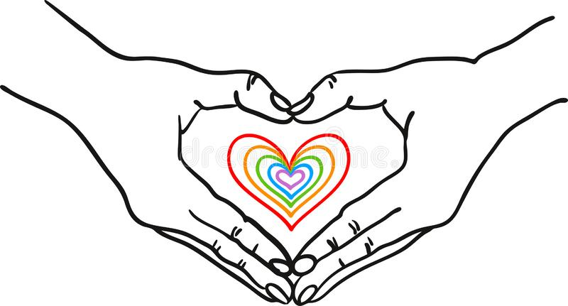 Hands forming heart shape around a colorful romantic heart - hand drawn vector illustration - Suitable for Valentine, Wedding, vector illustration