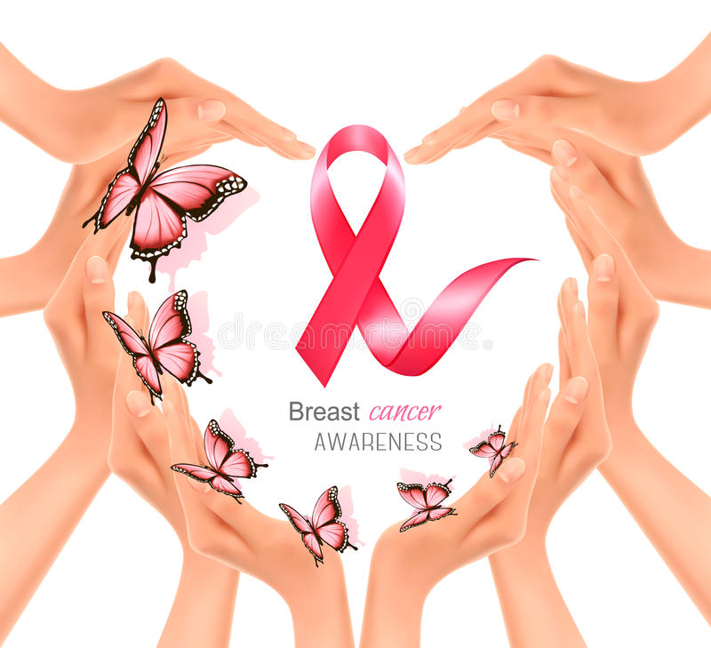 Hands forming a heart shape with a pink breast cancer awareness vector illustration