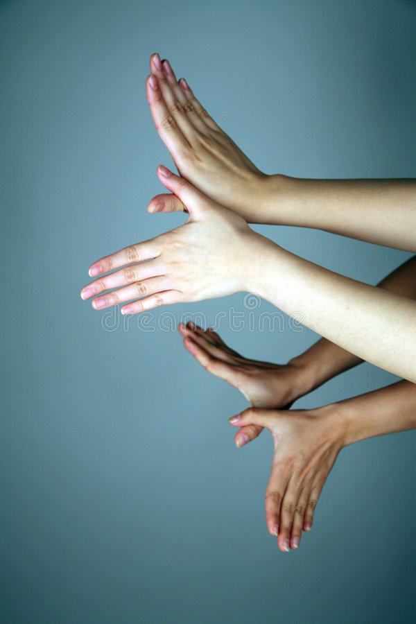 Hands forming wings royalty free stock photo