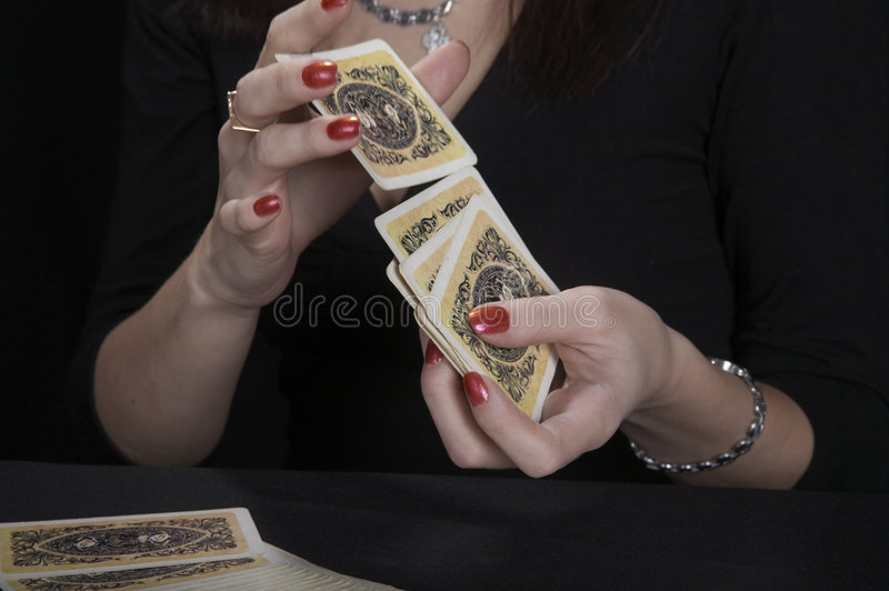 Hands of the fortuneteller stock images
