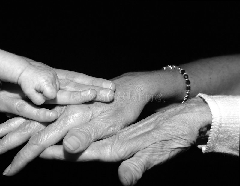 Hands of four generations. Of women in a family black and white stock images