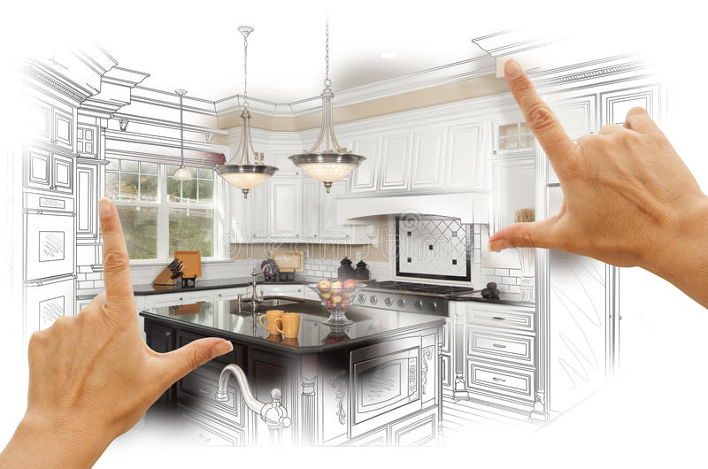 Hands Framing Custom Kitchen Design Drawing and Photo Combination stock photo