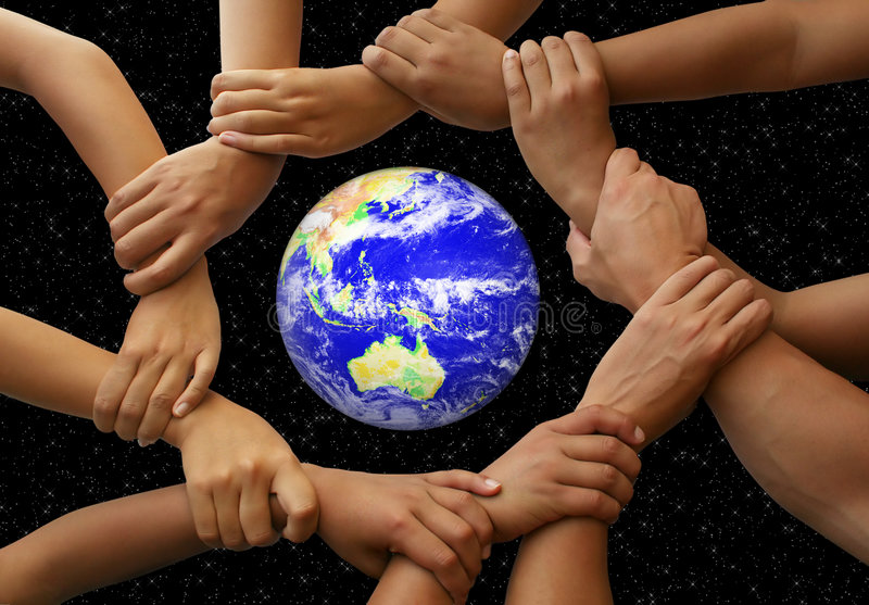 Hands Framing the Earth. In a global team theme