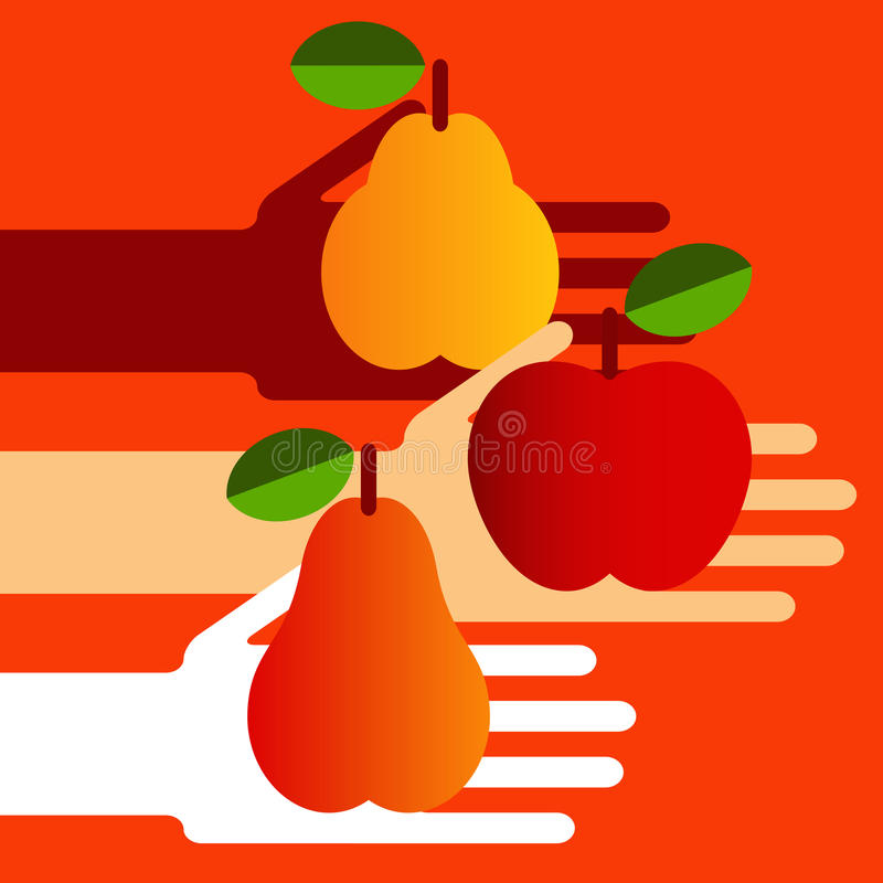 Download Hands with fruit stock vector. Illustration of meal, hand - 25916902
