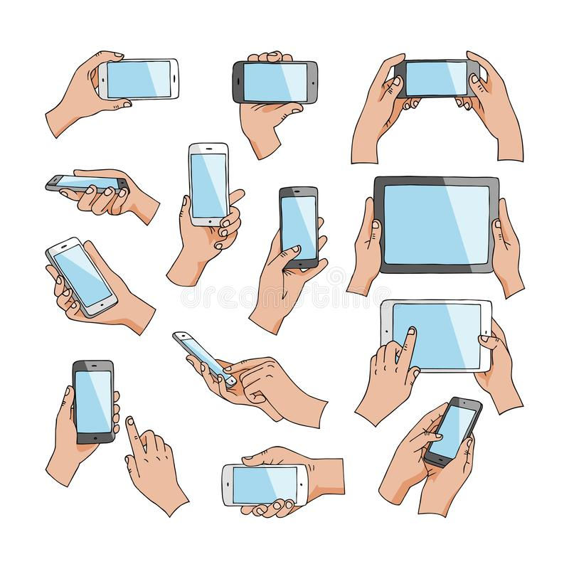 Hands with gadgets vector hand holding phone or tablet and character working on smartphone illustration set of digital. Device cellphone with touchscreen stock illustration
