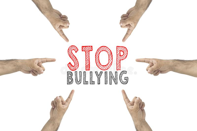 Hands gesture to the text: stop bullying stock photos