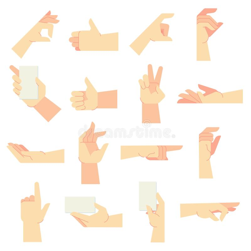 Hands gestures. Pointing hand gesture, women hands and hold in hand vector cartoon illustration set stock illustration