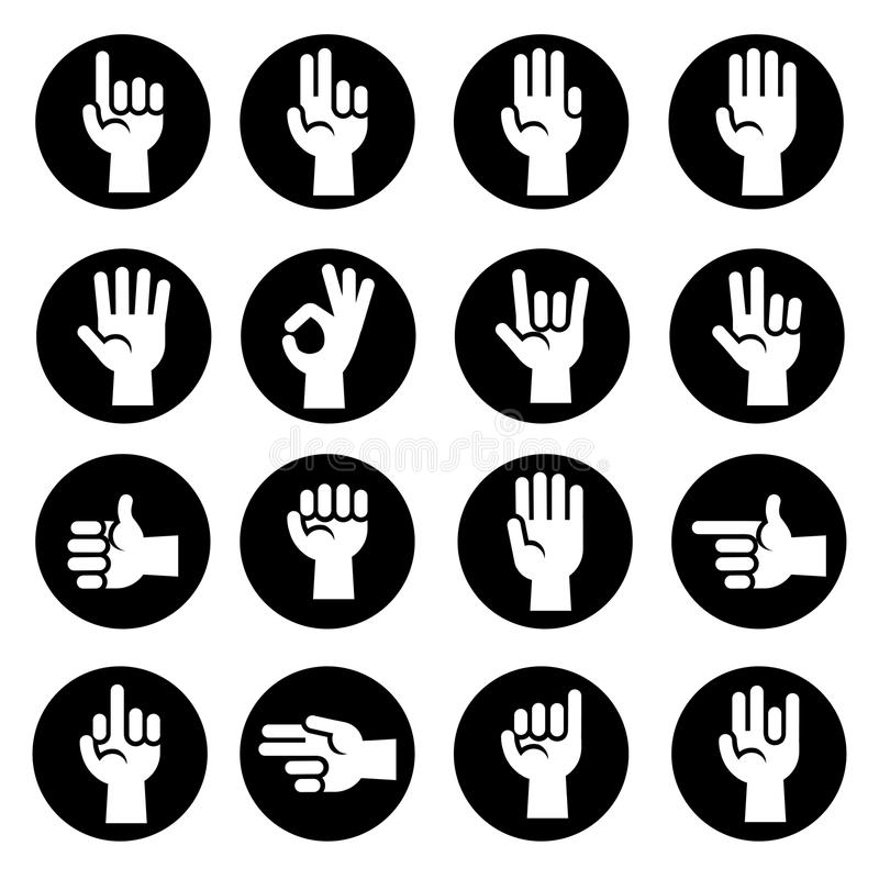 Hands gestures vector icons set in black and white stock illustration