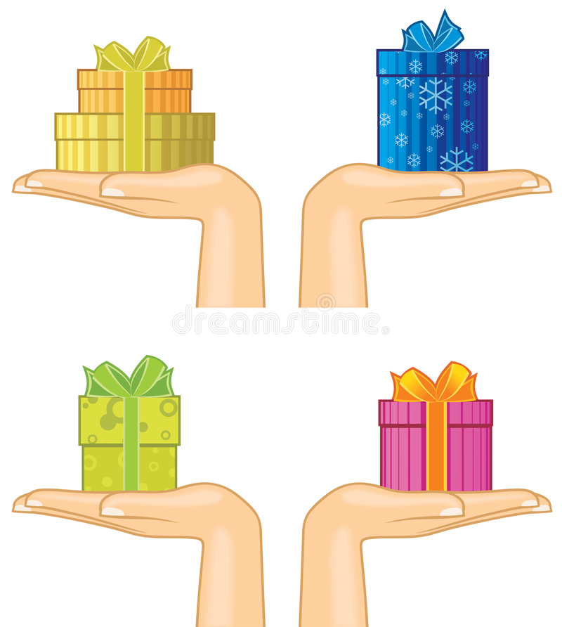 Hands with gift boxes vector illustration