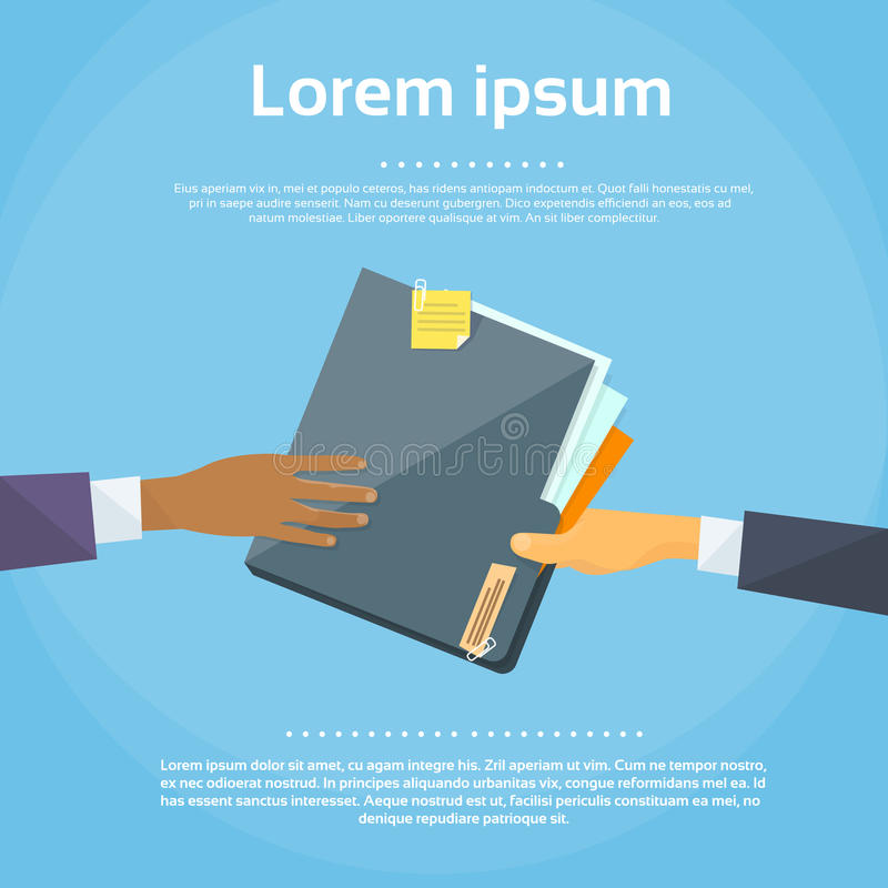 Hands Give Folder Document Papers, Concept royalty free illustration