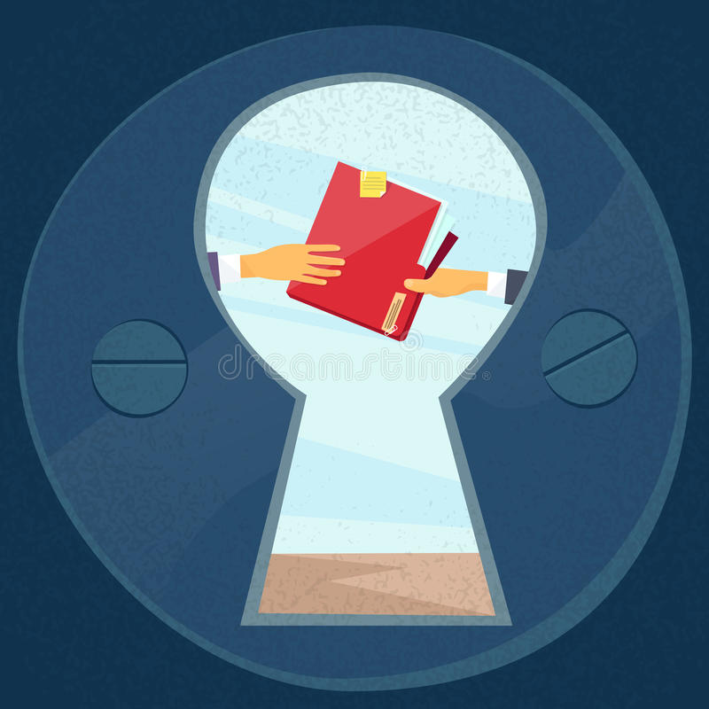 Hands Give Red Folder Secret Document Papers. Concept View Through Door Hole Businessmen Share Information Data Icon Flat Vector Illustration stock illustration