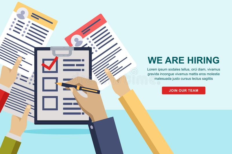 Hands giving cv resume to HR manager. Recruitment and hiring banner or poster design template. Vector illustration. stock illustration