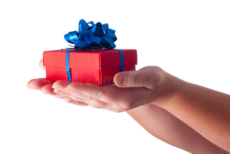 Hands giving a gift royalty free stock photo