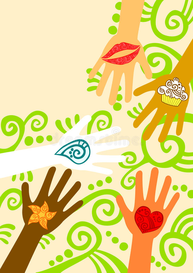 Hands Giving Help Greeting Card. Hands giving help, love, care, food and water. Space to write message on top royalty free illustration