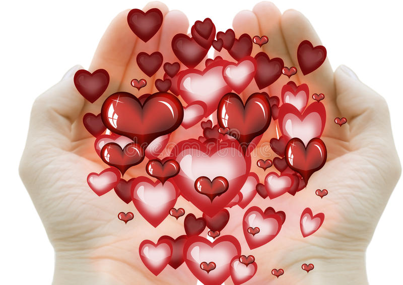 Hands Giving A Lot Of Little Hearts Stock Image