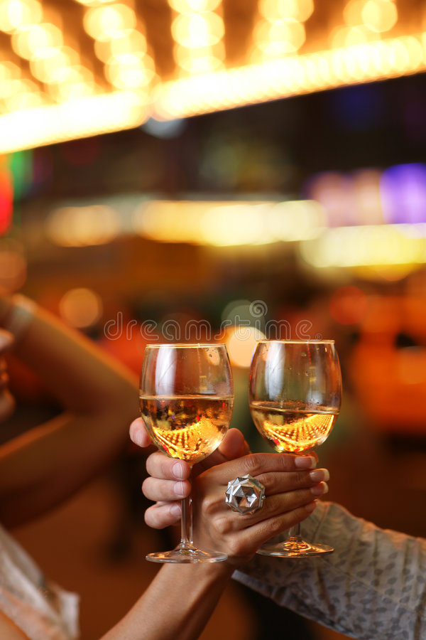 Hands With Glasses Of Champagne Royalty Free Stock Photos