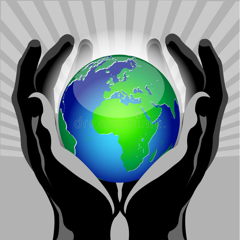 Hands globe vector illustration