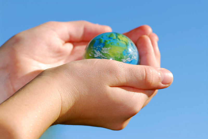 Hands globe royalty free stock photography