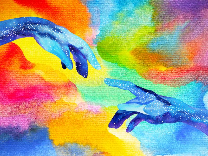 Hands of god connect to another world illustration design watercolor painting stock illustration