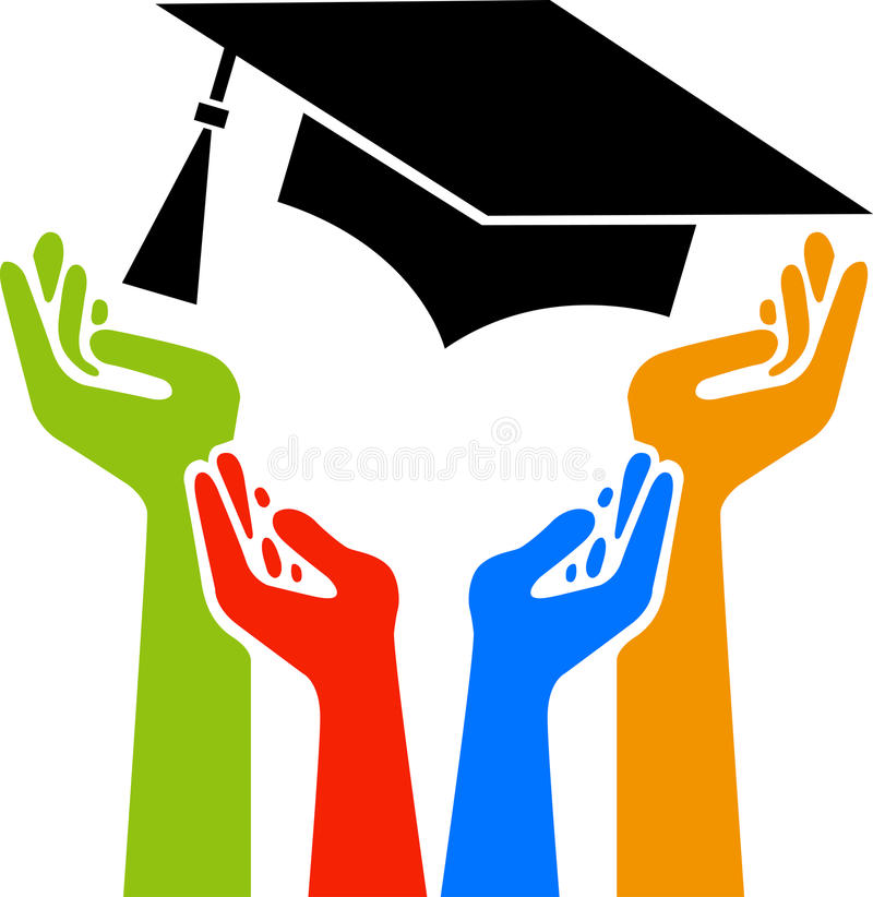 Hands graduation. Illustration art of a hands graduation logo with isolated background