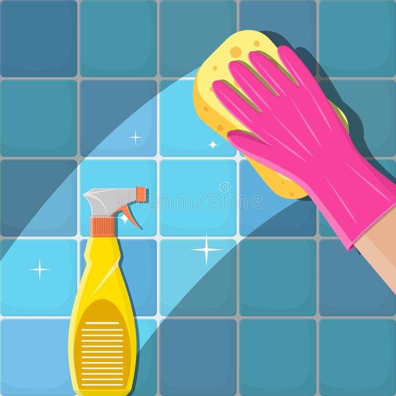 Hands in green gloves with spray. Cleaning service. Hands in green gloves with spray and sponge wash the wall tiles. Vector illustration in flat style vector illustration