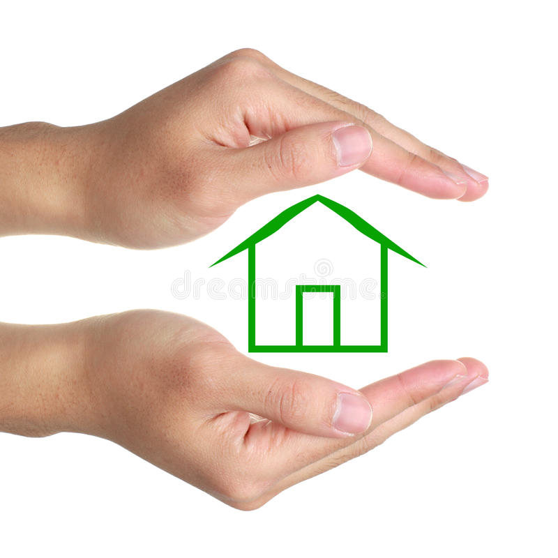 Hands and Green House. Hands and small green house on white background royalty free stock photography
