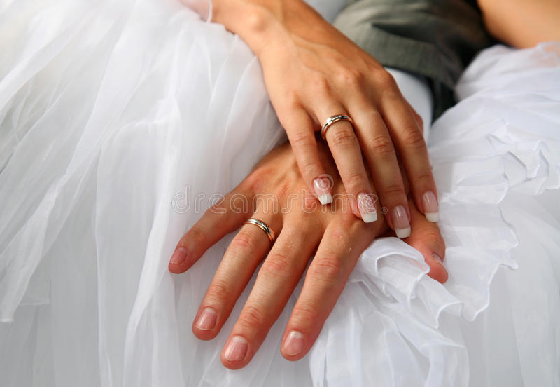 Hands of the groom and the bride. With wedding rings royalty free stock images